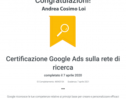 Certificazione Google Ads per la rete di ricerca